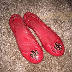 Red Tory Burch patent leather flats